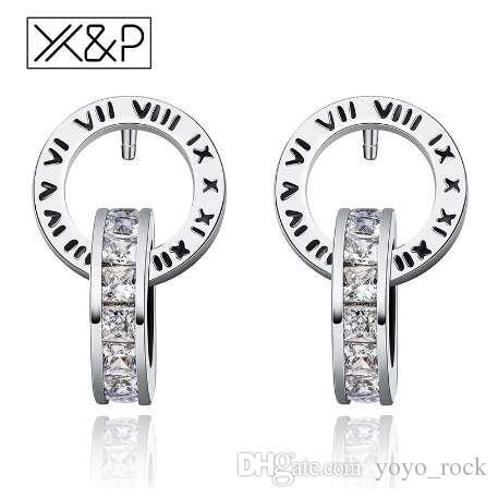 XP Mode Persönlichkeit Strass Gold Silber Ohrstecker für Frauen Mädchen Klassische Römische Ziffer Kristall Ohrring Schmuck Geschenk