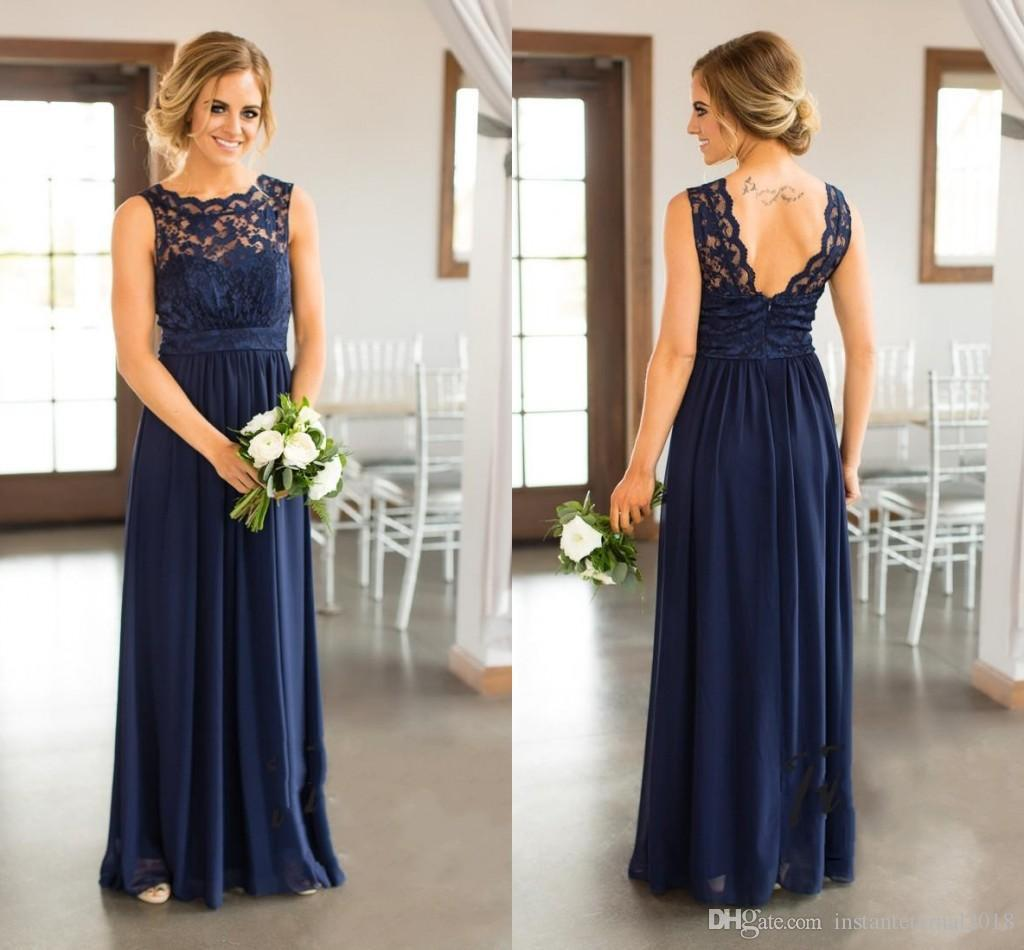 Bridesmaid Dresses 2018 New Country For Weddings Navy Blue Jewel Neck Lace Appliques Floor Length Plus Size Formal Maid of Honor Gowns