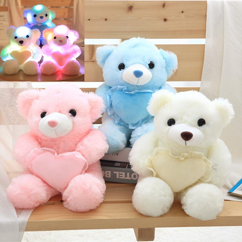 1pc 30cm Colorful Glowing Teddy Bear Luminous Plush Toys Kawaii Light Up Led Teddy Bear Stuffed Toys Doll Kids Christmas Gift