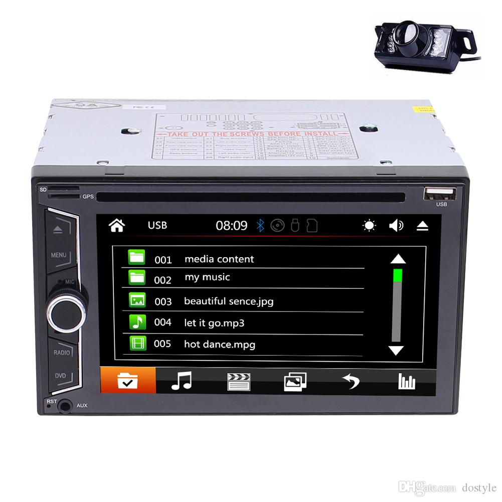 "6.2""Double DIN Car Radio In Dash Bluetooth Car DVD Player Stereo Mp3 1080P Video Player SWC AM/FM Radio/AUX-in+Rearview Camera"