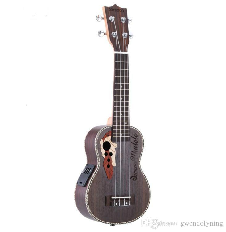 "Ukulele 21 ""acustiche Ukelele Spruce Ukulele 4 corde chitarra strumento chitarra con built-in EQ Pickup spedizione gratuita"