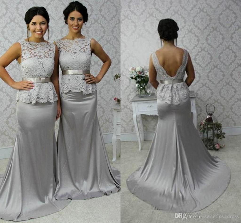 Skromna srebrna syrenka bateau bez rękawów z długością podłogi koronki długie sukienki druhny Silver Brides Maid sukienki Vestido de longo