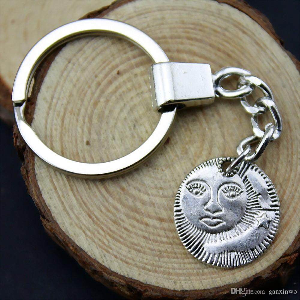 Catena 6 pezzi chiave delle donne Portachiavi Coppia Portachiavi per le chiavi di Sun viso e Stella 20x19mm