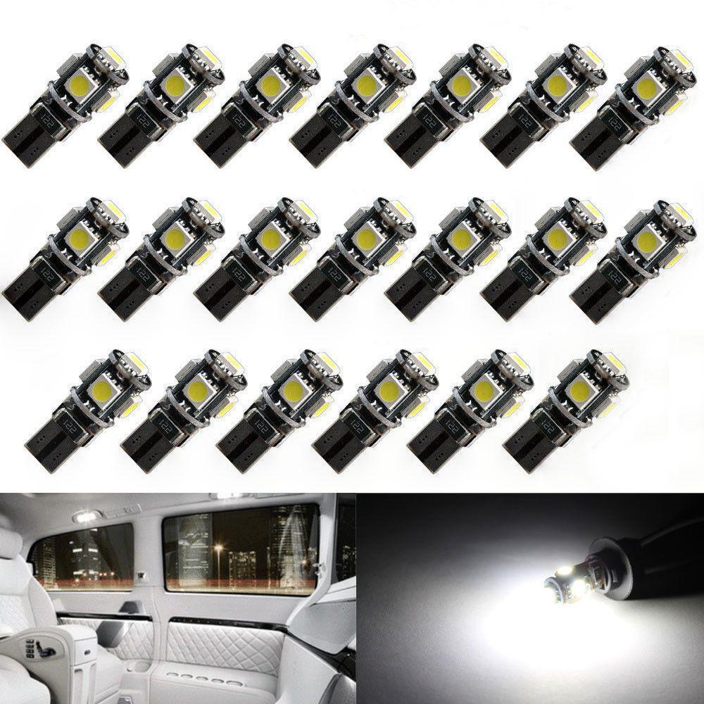 20 قطع عالية الجودة t10 في canbus 5smd 5050 194 w5w 501 5050 5smd led الأبيض سيارة الجانب الذيل ضوء لمبة t10 led في canbus w5w led في canbus