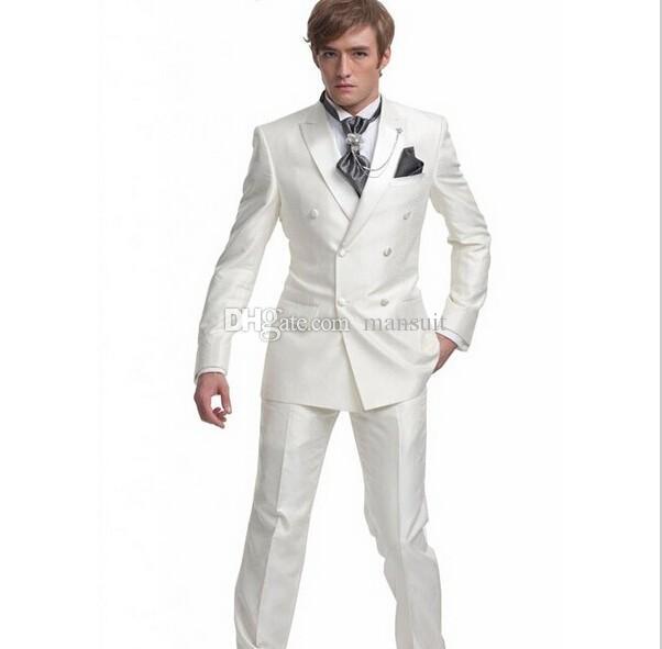 Custom Made Groomsmen Peak Tuxedos Marié Brillant Beige Hommes Costumes Mariage / Prom Le Meilleur Homme Blazer / Époux (Veste + Pantalon + Cravate) M376