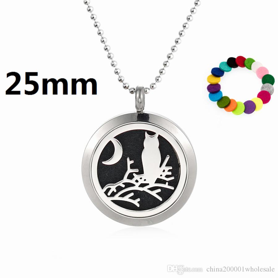 Owl on the branch 25mm Magnet plain Perfume Essential Oil Locket 316L Stainless Steel Diffuser Necklace(free 60cm chain and pads)