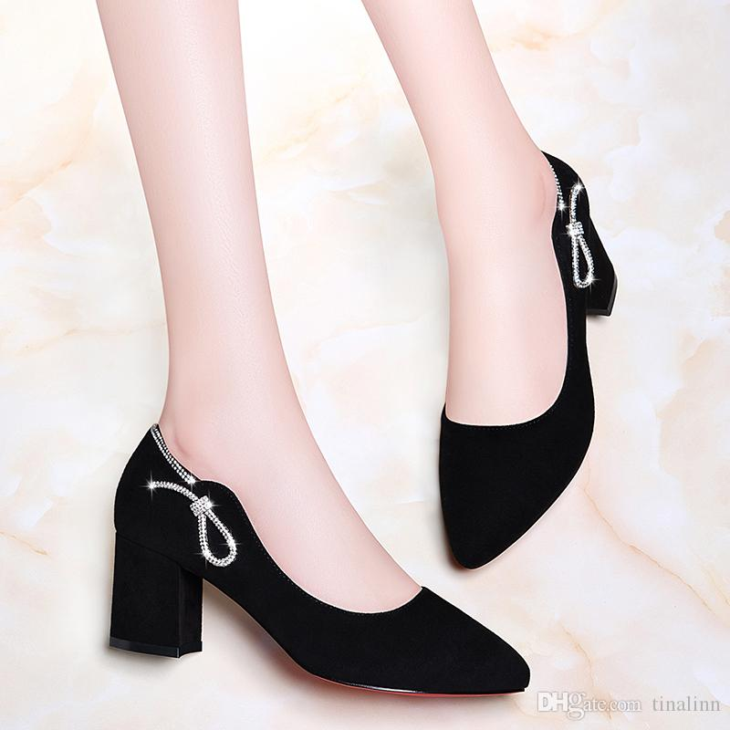 New Women Dress Pumps Chunky Heel Comfortable Classic high heel female shoes Black Brown Shoes Size 34-40