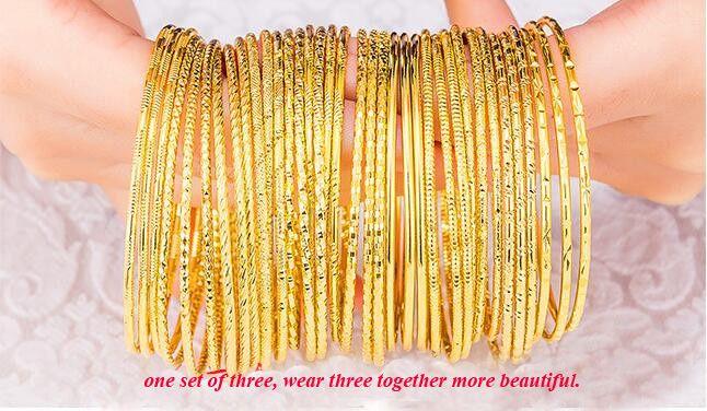 24K 진짜 금 도금 골드 컬러 팔찌 크기 2mm 여성 보석 소매 도매 디자인 팔찌의 12 종류