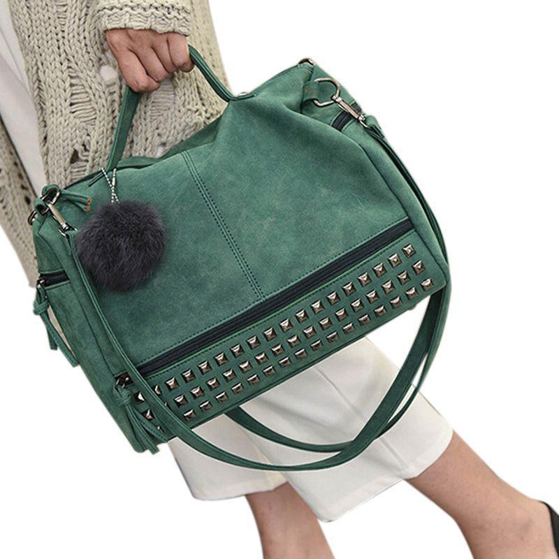 cuir HCH-Vintage PU Ladies sacs à main Rivet Grandes Femmes Sacs Sac à bandoulière cheveux boule de moto Messenger Bag Top-Manche