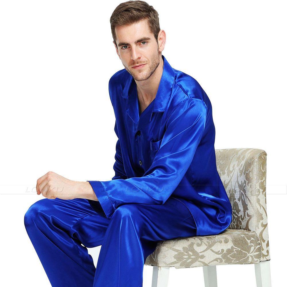 Ensemble de pyjamas en satin de soie pour homme Ensemble de pyjamas Vêtements de nuit Loungewear S ~ 4XL Plus