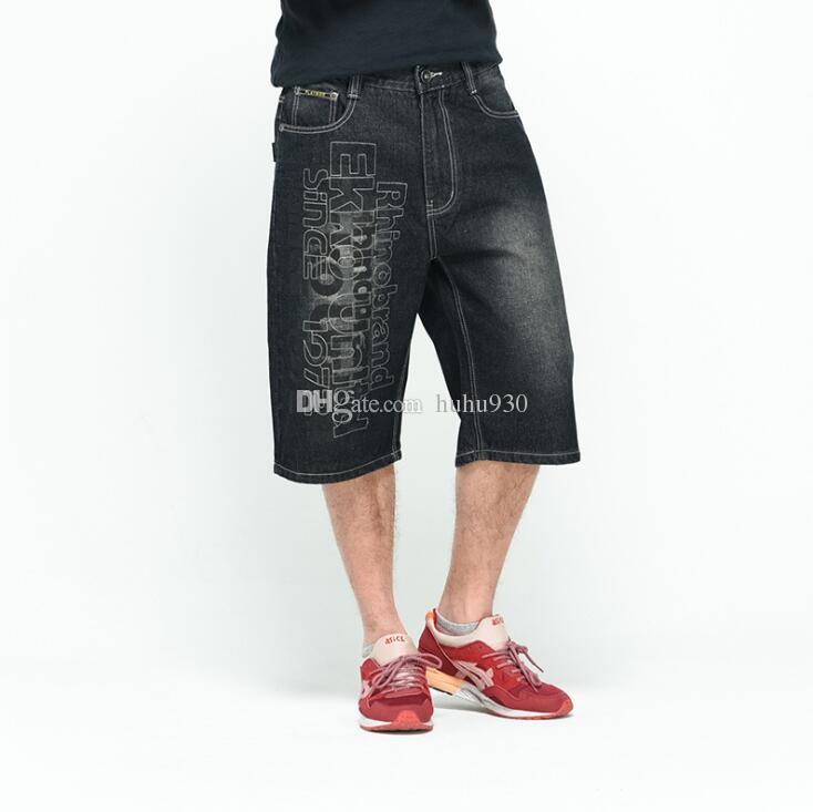 Acquista Pantaloncini Jeans Larghi Allacciati Uomo Hiphop Streetwear Pantaloncini Estivi Da Uomo Jeans Bermuda Neri Pantaloni Corti Plus Size 40 42 44