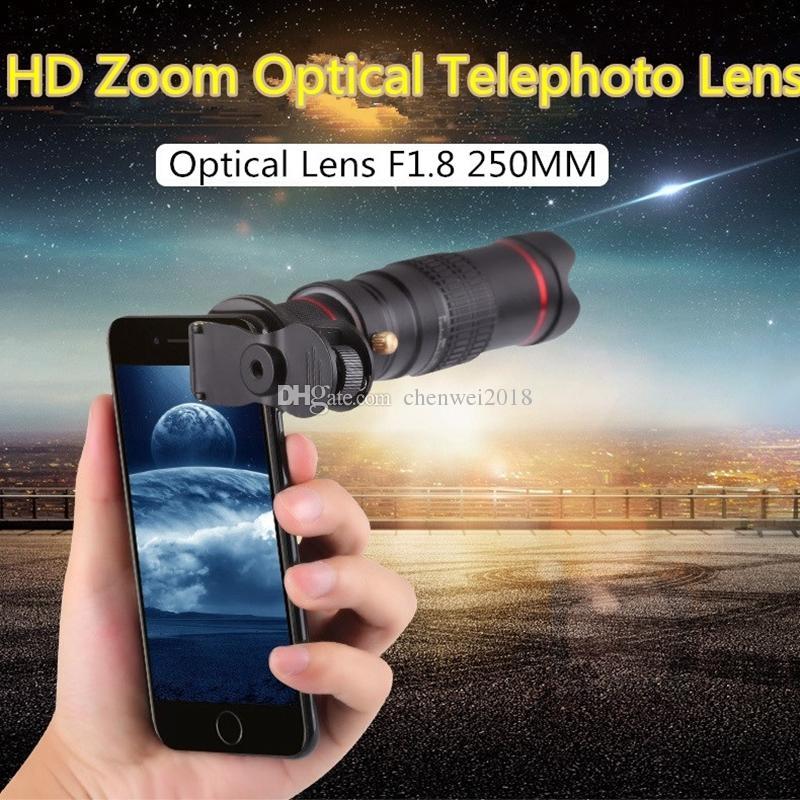 iPhone Samsung Xiaomi ile Tripod için Evrensel klip 22X Çift Zoom Optik Teleskobu Objektif HD 4K Telefoto Dış Smartphone Kamera Lensler