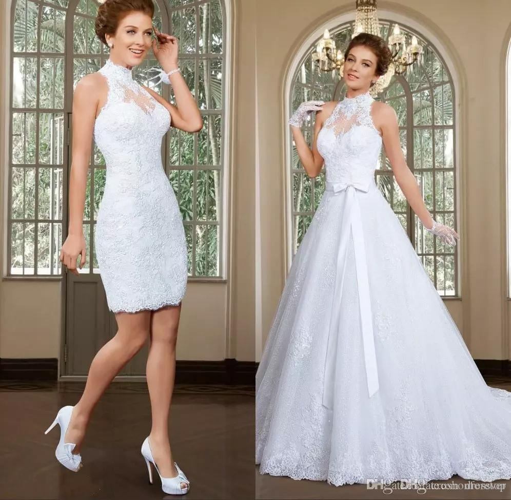 Fabulous High Collar Neckline 2 In 1 Wedding Dresses Applique Tulle Beaded Lace A Line Wedding Bridal Gowns Vestido De Noiva