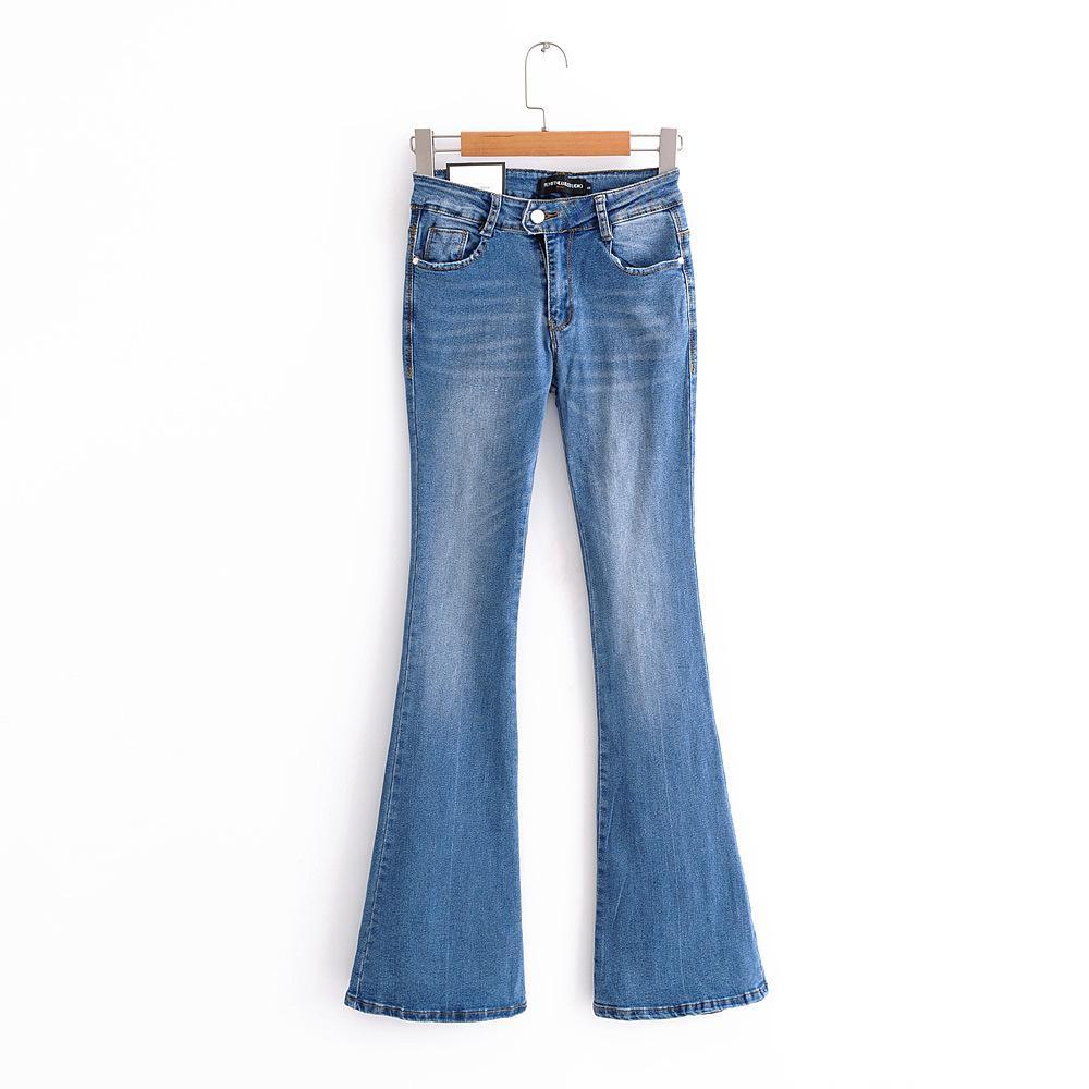 2018 Autumn New Fashion Women Jeans Blue Flared Pants Wide Leg Denim Pants Cotton Casual Womans Clothing Fashionable
