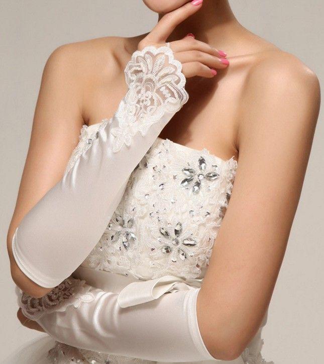 Venda quente 2018 Novo estilo rendas fingerless luvas longas de noiva gancho de dedo luvas de cetim vestido de noiva acessórios shuoshuo6588
