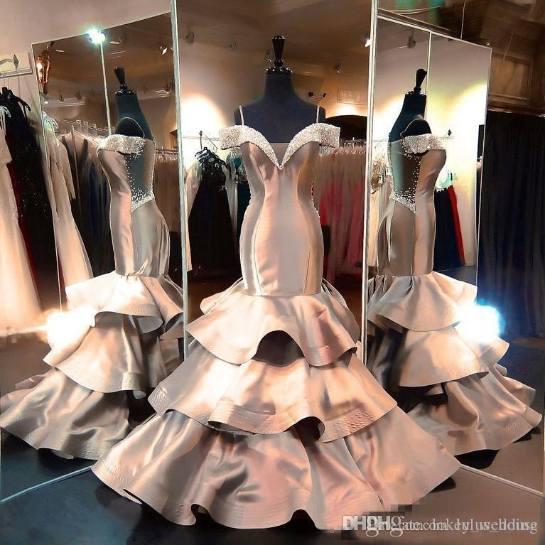 2018 Mermaid Dresses Evening Wear Beaded Rhinestones Off The Shoulder Satin Tiered Skirt Formal Dress Sweep Train Sequined Long Prom Gowns