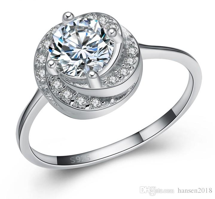 Women Gorgeous Round White Crystal Cubic Sapphire Wedding Ring Promise Jewelry