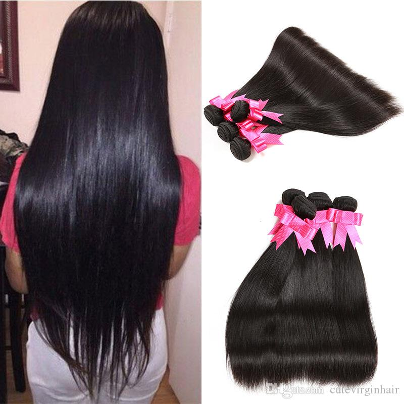 Straight Hair 8-30 Inch 4pcs/lot Brazilian Malaysian Peruvian Virgin Human Hair Weave Bundles Extension Best Quality Natural Color Vendors