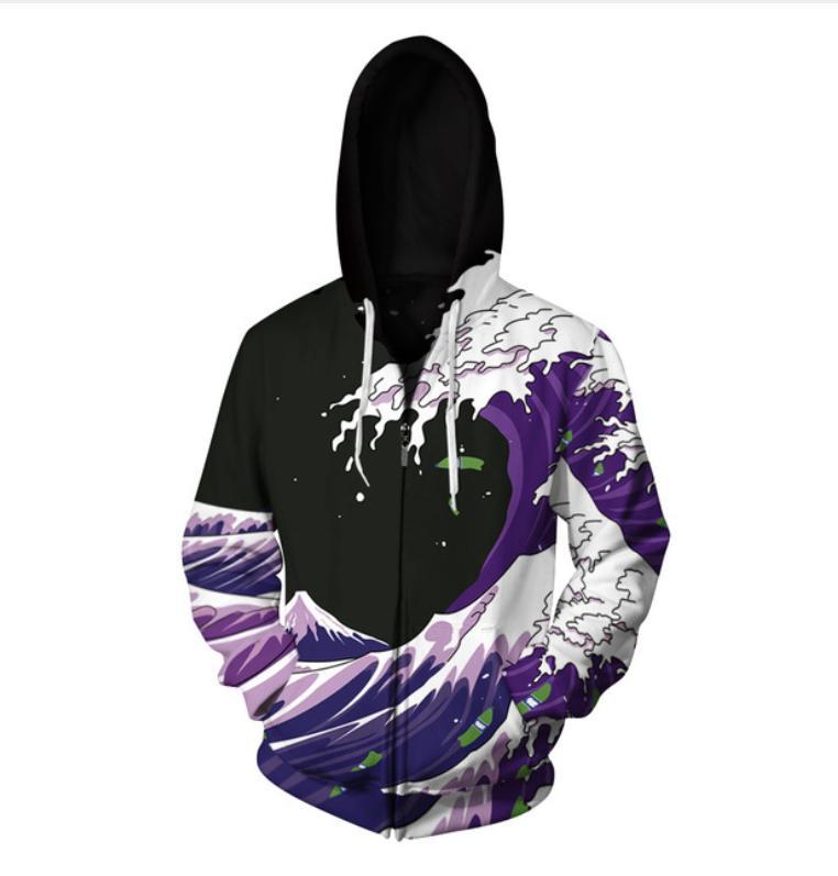 Großhandelsneuester Art- und Weisefrauen / purpurrote Farbe der Farben Surfy lustiges 3d Druck-Reißverschluss-Pullover-Sweatshirt-Kapuzenpullover geben Verschiffen frei LL029