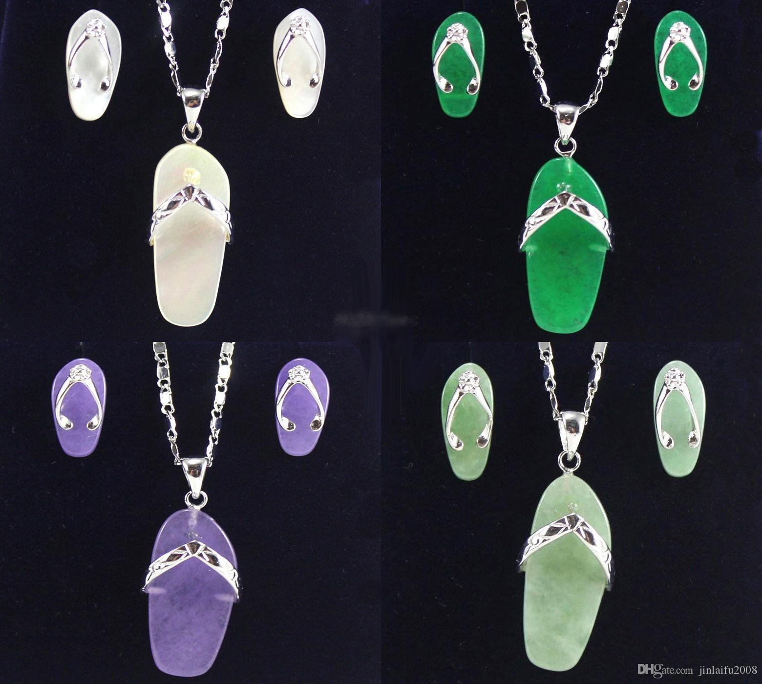 Lovely Green Purple Jade White Shell 18KWGP Scarpe Collana orecchini set
