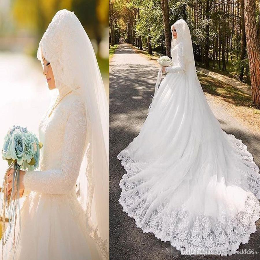 Vestido De Noiva Arabic Muslim Wedding Dresses Luxury Long Sleeve Wedding Gowns With Hijab Veil 2019 Lace Bride Bridal Gowns