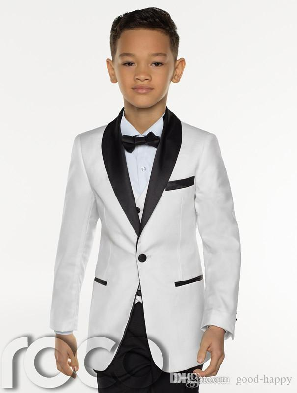 New Fashion White Boy Formal Wear Hermoso niño Kid Attire Wedding Apparel Blazer fiesta de cumpleaños traje de fiesta (chaqueta + pantalones + corbata + chaleco) 17