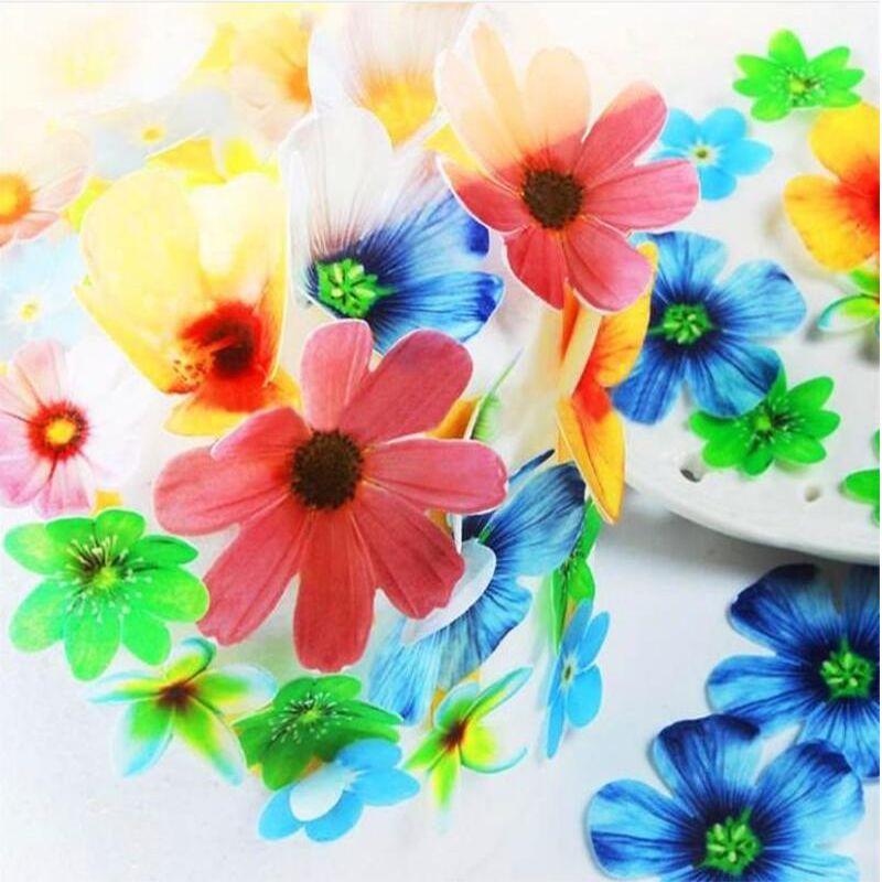 37 قطعة / المجموعة الصالحة للأكل الزهور ل cake decorations، رقاقة زهرة كعكة فكرة الديكور، ورق الطعام للأكل أدوات الديكور كعكة كب كيك