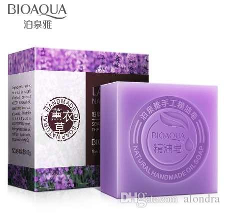 Bioaqua الطبيعية لافندر الزيوت العطرية اليدوية الصابون تبييض البشرة إزالة حب الشباب تنظيف الأوساخ مكافحة الشيخوخة الرجال / النساء الجلد الرعاية