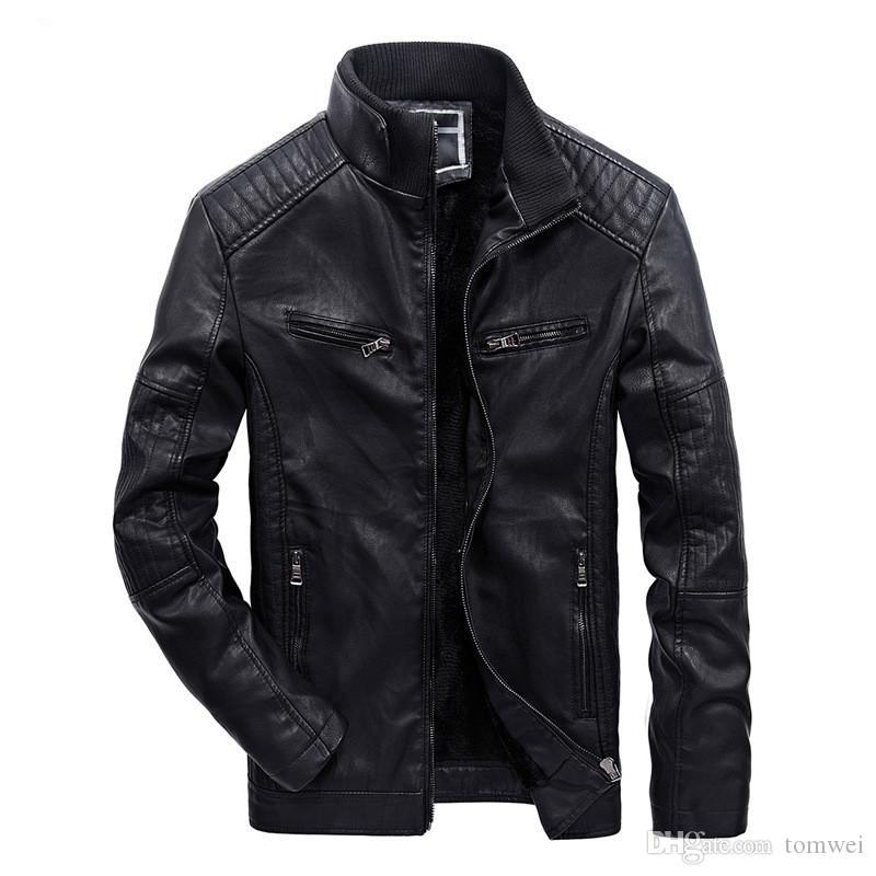 Осень зима одежда Мужская PU кожаные куртки кашемир пальто теплый байкер мотоцикл куртки 2018 бесплатная доставка M-XXXL