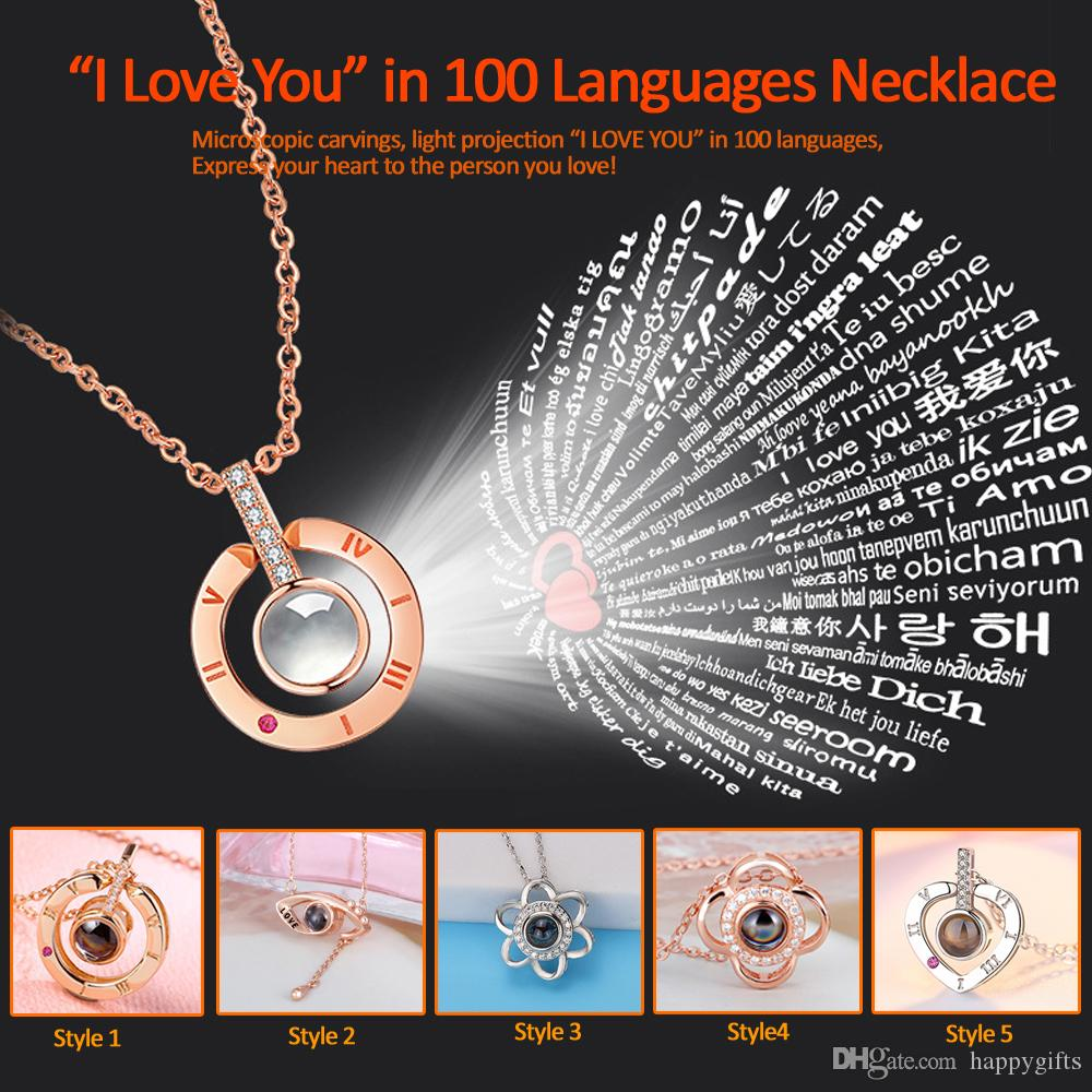 925 Silver Gold I Love You in 100 languages Gemstone Bracelet Jewelry Gifts Hot