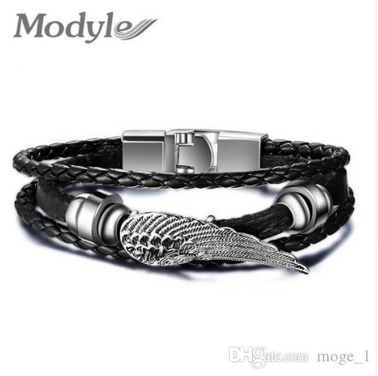 Modyle alta calidad nueva joyería de moda PU pulsera de cuero hombres alas de ángel pulseras para mujeres mejor amigo regalo