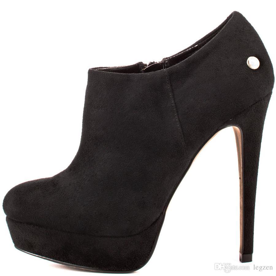 Legzen moda botines de mujer punta redonda tacones altos Bootie Faux Suede zapatos negros mujer talla grande