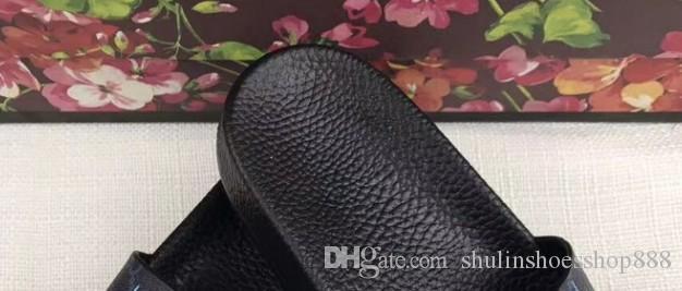 Moda deri slayt sandalet terlik erkekler kadınlar 2017 Sıcak kaplan Tasarımcı çiçek baskılı unisex plaj flip flop terlik EN KALITELI 38-45