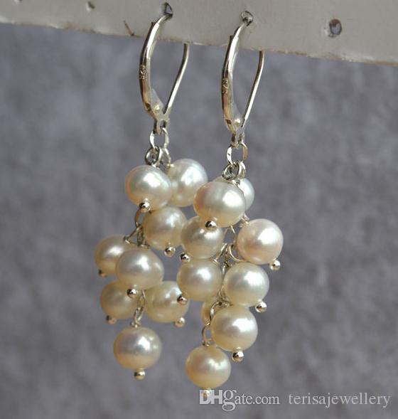 Oryginalne kolczyki z pereł, biały kolor słodkowodne perłowe kolczyk 925 Silver Dangle Jewellery, prezent urodzinowy damy mody