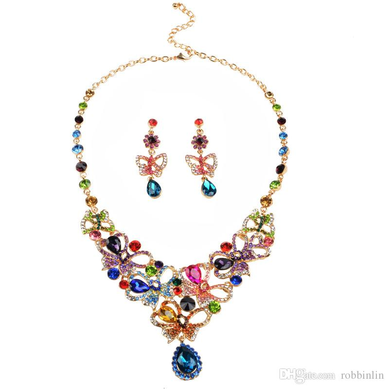 Multicolor Rhinestones Luxury Austrian Crystal Necklace Earrings Jewelry Set Indian Turkish Wedding Party Jewelry Sets