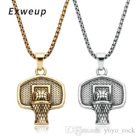 Exweup Basketball Basket Pendant Necklace Stainless Steel Chain Ball Necklace Charm Men Sports Team Hip Hop Jewelry Gift