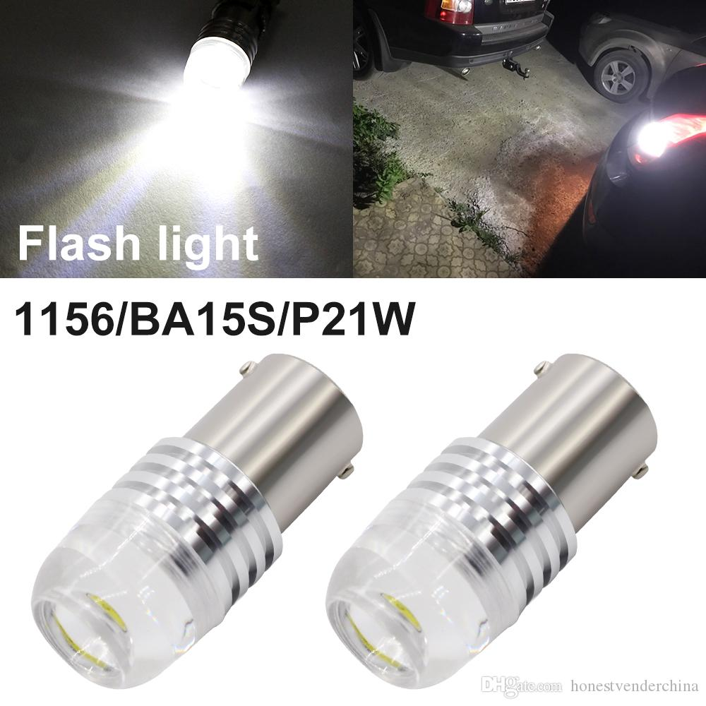 2X P21W Led 1156 BA15S S25 LED Bulbs White Strobe Flash Lens LED Turn Signal Lights Reverse Bulbs for Car Lamp 12V 2pcs High Power