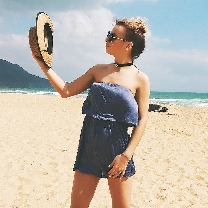 2018 Summer Style Rompers Women Jumpsuit Pink Sexy Off The Shoulder Playsuits Ladies Casual Solid Overalls Body Suit