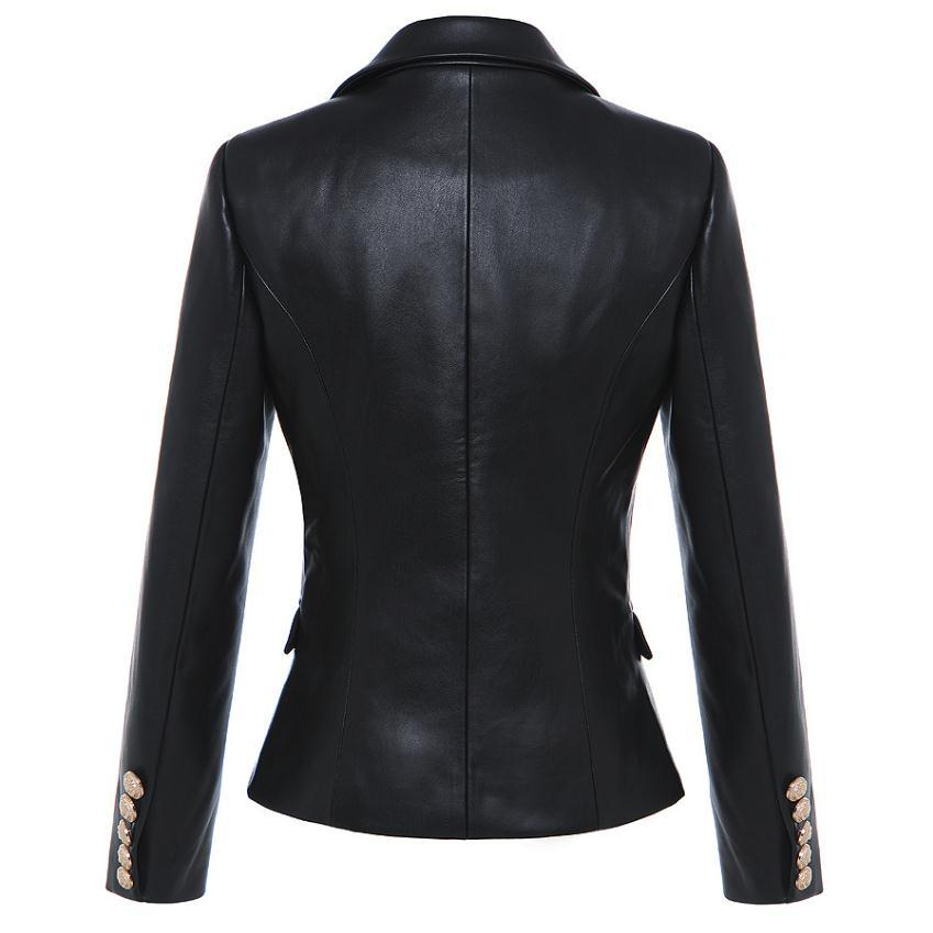 Fashion brand metal buttons pu leather blazer 2018 spring new women 's Korean version double breast suit jacket wj2008