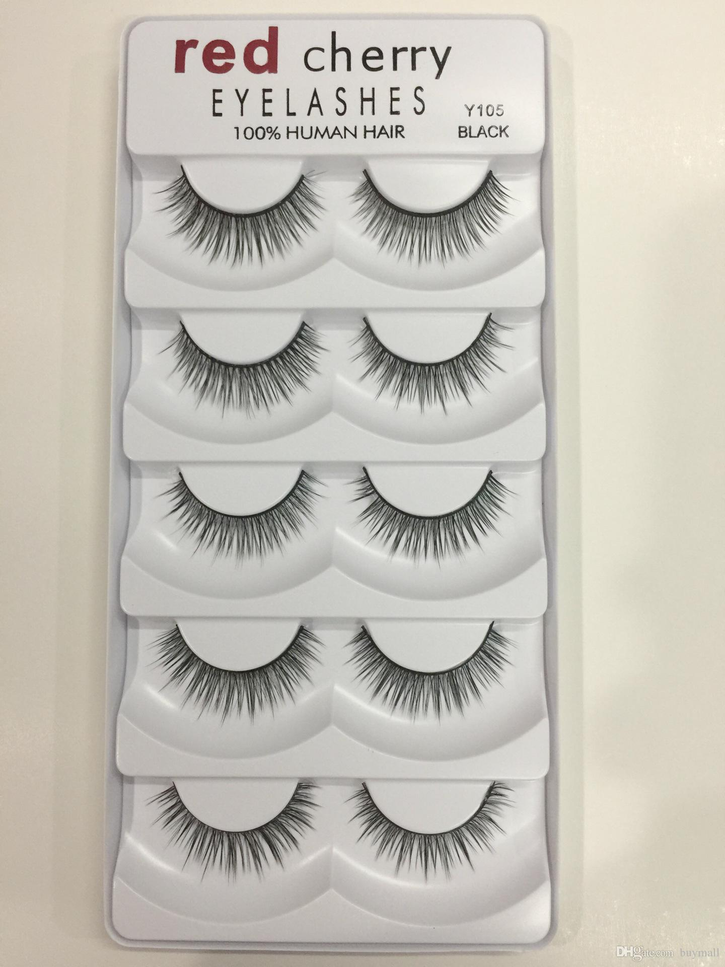 Red Cherry False Eyelashes 100% Human Hair 5 pairs each set Black color 8 styles available drop shipping Fake Lashes