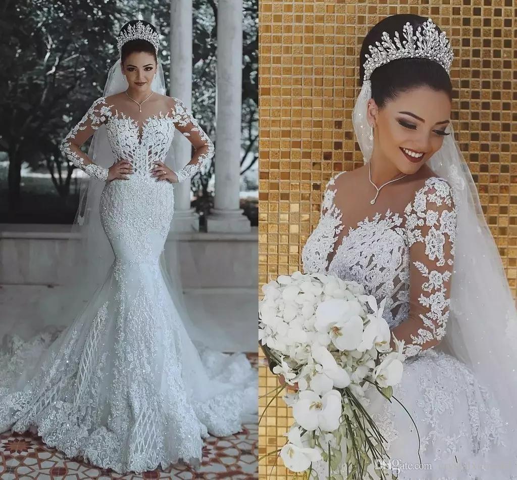 2019 New Luxury Overskirts Mermaid Wedding Dresses Sheer Neck