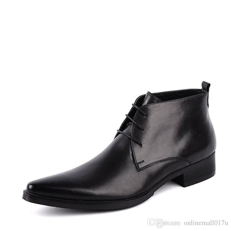New British Style Black/Red/Brown Genuine Leather Lace-Up Martin Man's England Dress Wedding Motorcycle High-top Boots