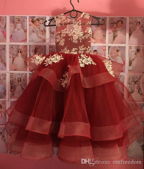 2019 Elegant Dark Red Girls Pageant Dresses Sheer Jewel Neck Appliques Tiered Skirts Flower Girls Dresses Girl Birthday Party Gowns Custom