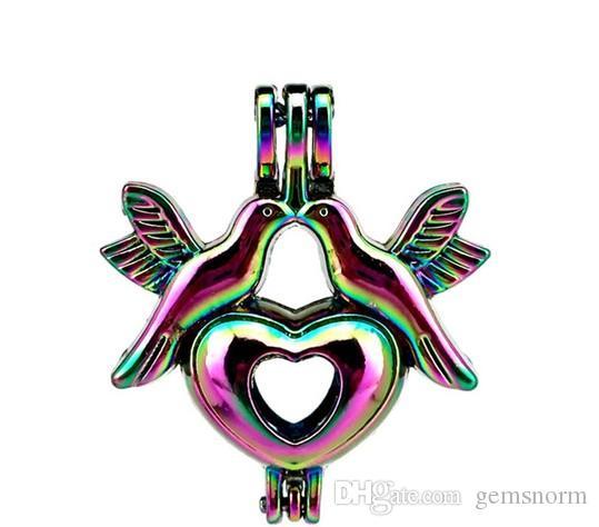 5 unids Color del arco iris Amor Paz Paloma Perla Jaula Perla Locket Colgante Difusor de Aceite Esencial DIY Joyería Para Perlas Oyster C178