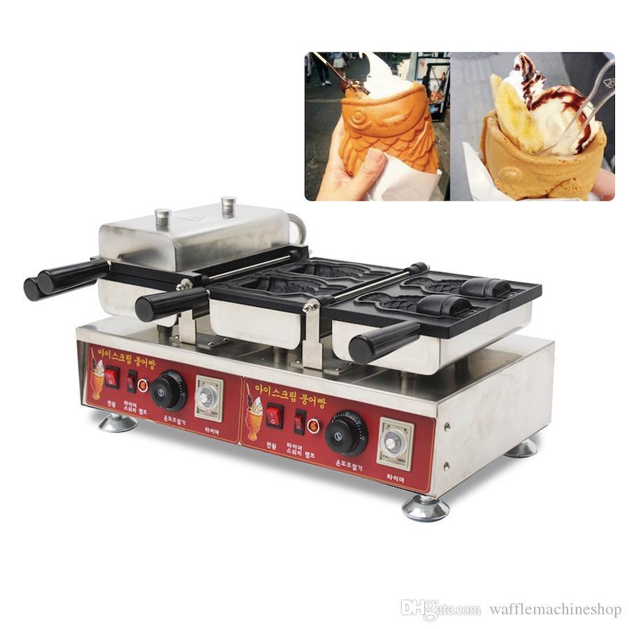 Ticari 4 adet Balık Waffle Makinesi Dondurma Balık Gözleme Makinesi Taiyaki Makinesi Açık Ağız Dondurma Waffle Koni Makinesi