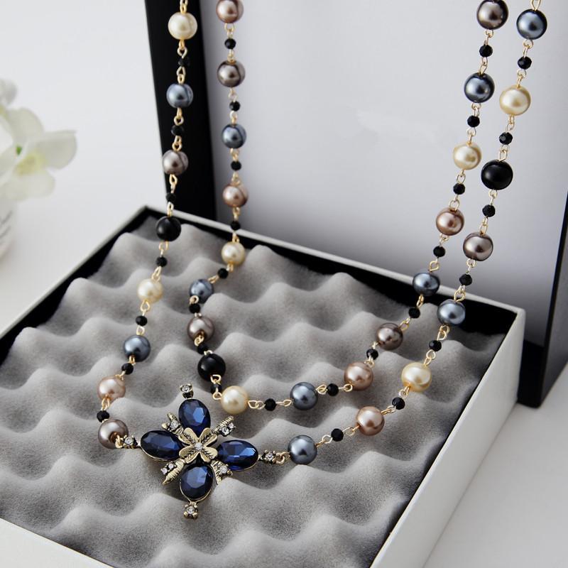 2016 neue Heiße Mode Frauen Tuch Zubehör Simulierte Perlenkette Anhänger Lange Kreuz Halskette X041