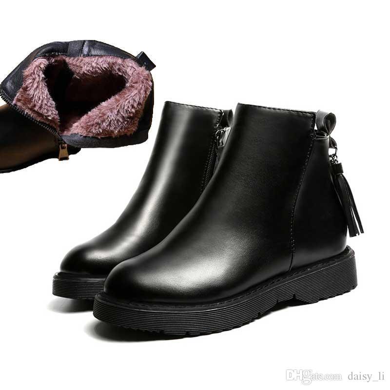 Женщины зима PU сапоги женская теплая обувь с плюшевыми Chaussure девушки бахрома ботильоны женщина Мартин загрузки обувь #50