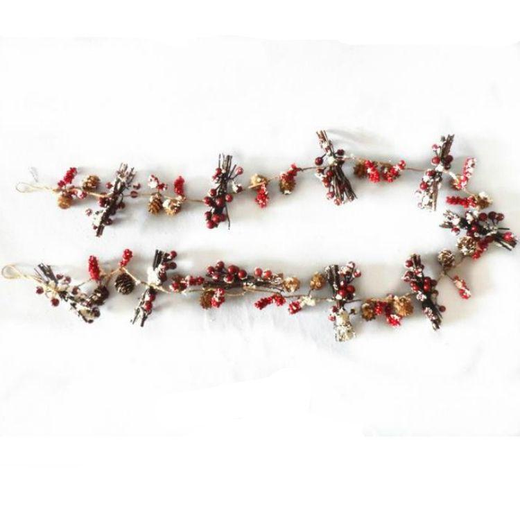 2019 Neue 2 Meter Weihnachtsschmuck Natürlich Aussehende Frost Tannenzapfen Beeren Zweig Girlande für Winter Dekoration Freies Verschiffen