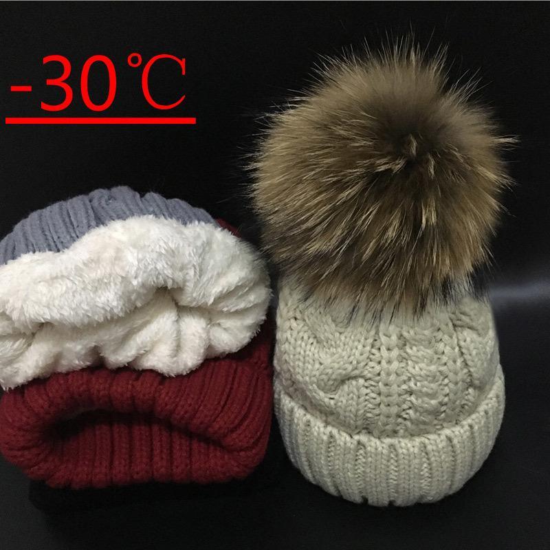 2018 Skullies Bonnets femmes Plus velours Chapeau D'hiver Pour Les Femmes Chaudes Chapeau Marque Tricot Cap 18 cm fourrure Pom Poms Loisir Chapeau S18101708