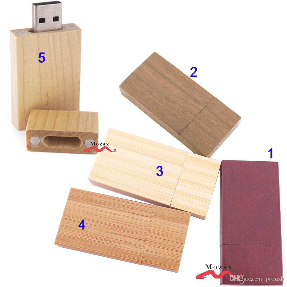 Wood USB Drive 10PCS 1GB 2GB 4GB 8GB 16GB Wooden Memory Flash Pendrive Sticks 2.0 True Storage Suit for Customize Logo 5 Colors Options